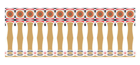 Elegant, spectacular and decorative border of Hindu and Arabic inspiration of various colors, golden, red and black