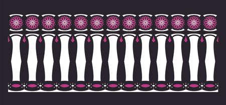 cenefas: frontera elegante, espectacular y decorativa de inspiración hindú y árabe de varios colores, blanco y púrpura con el fondo negro