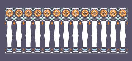 frontera elegante, espectacular y decorativa de inspiración hindú y árabe de varios colores, blanco, azul claro y naranja con fondo azul oscuro