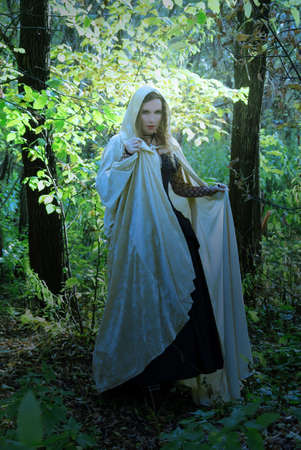 Medieval girl in a black dress and goldy blue cloak. Or Enchantress at the Woodland at the day before .