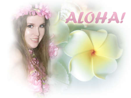 Hawaiian girl with frangipani. Aloha! Stock Photo - 3710010