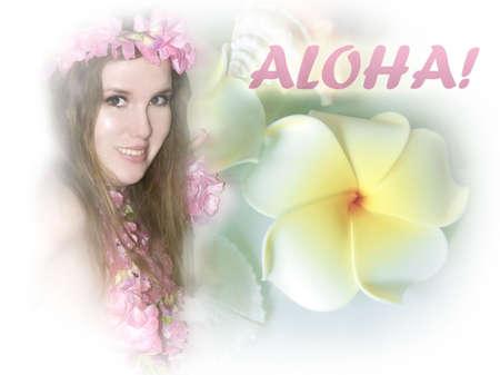 kamboja: Hawaiian girl with frangipani. Aloha!
