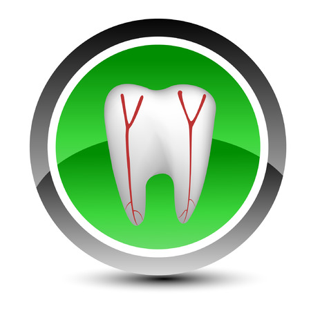 Medical icon with a tooth. Vector illustration. Vector