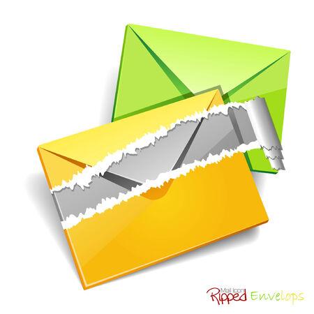 envelops: Ripped envelops icon.Vector illustration. JPG available in my portfolio. Illustration