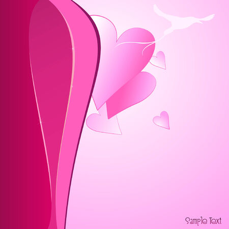Love background with harts and bird. Vector illustration. Vector