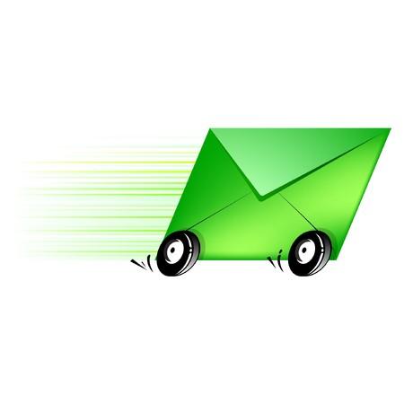 transporteur: Ic�ne conceptuel lettre pour la livraison rapide et efficace.  Illustration
