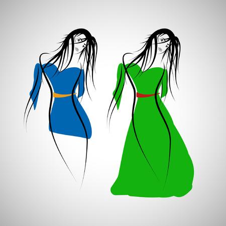 Set of 2 fashion girl dress. illustration.  Vector