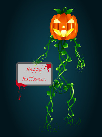 quot: Halloween invitation. &quot,Human-pumpkin&quot, with a cardboard in hand.