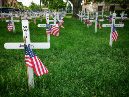 armed services: Memorial crosses to honor Memorial Day in town courtyard.