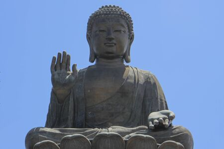 Buddha statue in Lantau Island with no clouds