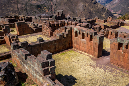 Ruins of the Sun at Pisac in the Sacred Valley. Peru. 免版税图像