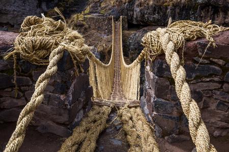 Inca Qeswachaka bridge made of grass.