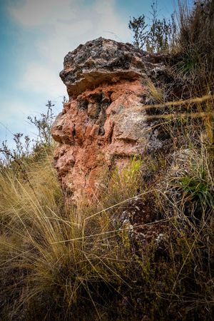 Inka's face seen from a stone profile. Chinchero, Peru. Banque d'images