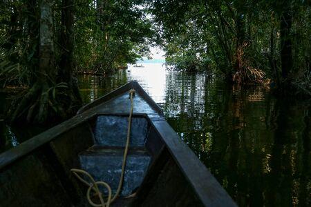 Boat on the Sandoval lake. Puerto Maldonado, Peru.