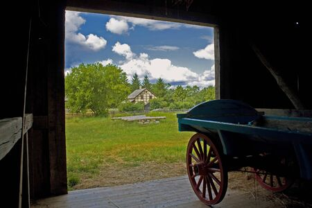View from Schultz Barn to Koepsell House, Old World Wisconsin Archivio Fotografico
