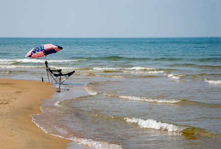 Patriotic Umbrella on the Beach