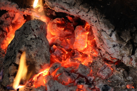 fuego: fuego en ascuas Stock Photo