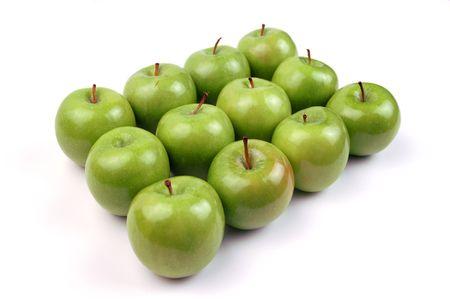 A dozen apples in a symmetrical pattern.