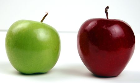 Red and Green apples next to each other. photo