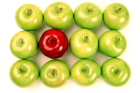 odd: One Red Apple stands out among many Green.