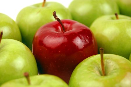 One Red Apple stands out among many Green. photo
