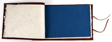 an opened leather bound scrapbook. Stock Photo - 965647