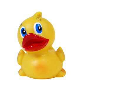 rubber ducky: A close-up of a rubber ducky bath toy, isolated on white.
