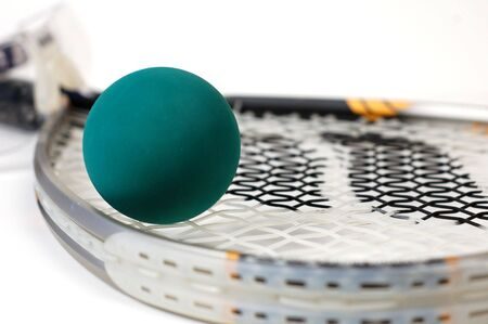 athletic gear: Close up shot of racquetball gear on a white background.