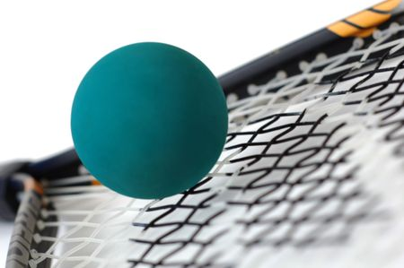 athletic gear: A raquetball racket and ball.