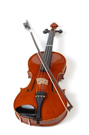 A beautiful violin on a white background. photo