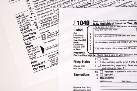 A United States income tax form, 1040.