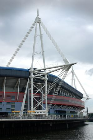 cymru: A view of the striking Millennium Stadium sports complex in Cardiff, Wales, UK. Stock Photo