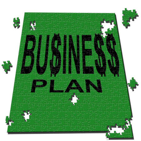 business plan made up of puzzles green on a white background photo