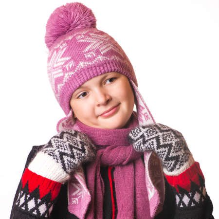 smiled: the portrait of the girl in winter clothing smiled