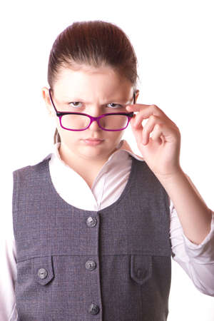 expressed: The businesswoman in glasses expressed emotions Stock Photo