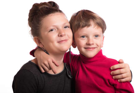 kindred: The boy putting the hand to the girl on a shoulder. Stock Photo