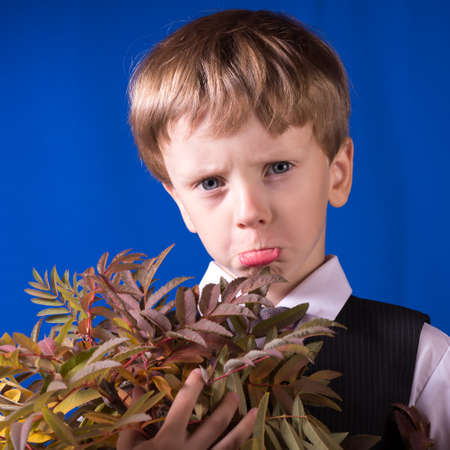 offense: The portrait of the boy of the blonde with blue eyes taking offense Stock Photo