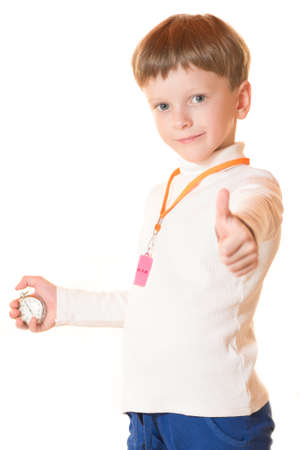 The boy the trainer showed result on a stopwatch Stock Photo