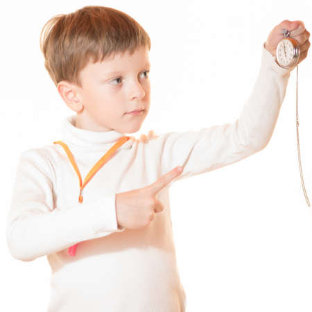 arbitrator: The boy the trainer showed result on a stopwatch Stock Photo