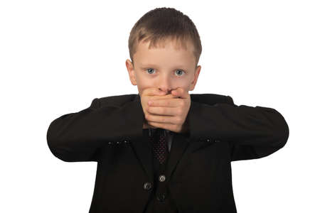 he said: Guy observes silence. He put his hands over his mouth and said nothing.