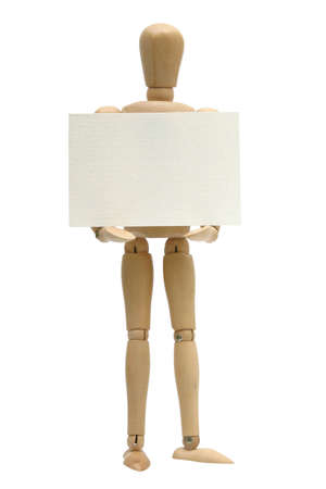 minature: Small Art mannequin holding a blank sign. Isolated against white background Stock Photo