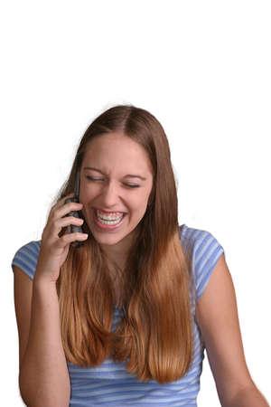 Teen Mädchen reden über Telefon und lacht. Isolierte gegen weißen Hintergrund.  Standard-Bild - 271518