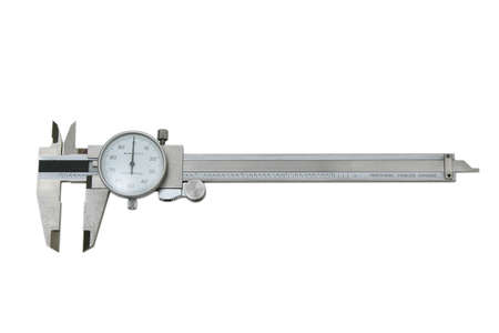 inches: dial, caliper, measure, measurement, measuring, inches, fractions, fraction, millimeters, micro, small, inch, zero, handheld, isolated, white, background, clipping, path