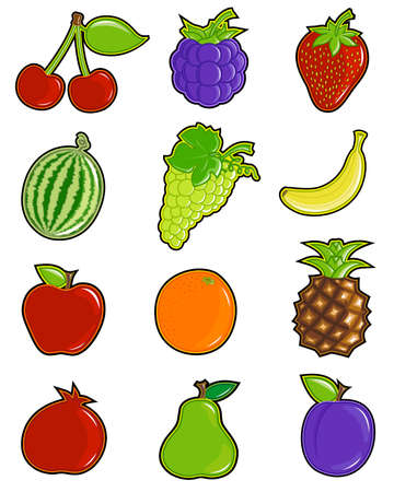 separately: Colorful and juicy fruits icon set . All elements are separately layered.