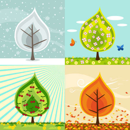 winter cherry: Four different compositions of a cherry tree in four seasons. ( winter,spring, summer, fall, autumn )