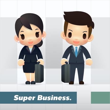 asian businessman: Set of Asian Businessman and Businesswoman, Cute and simple cartoon style.