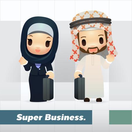 hombre arabe: Conjunto de hombre de negocios árabe y Ejecutiva, lindo y simple del estilo de dibujos animados Vectores