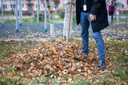 A man takes away a bunch of leaves. The order in the yard.