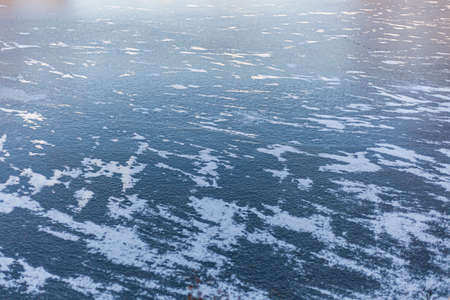 Ice on the river. Texture of ice in winter without snow. 写真素材