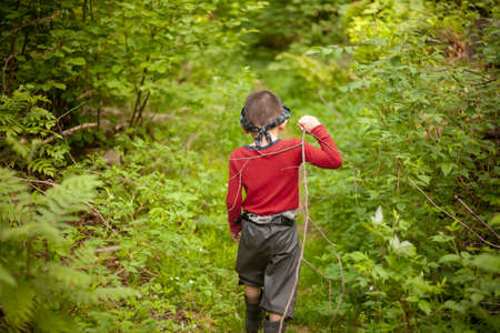 The boy walks through the woods alone. A child in a red sweater is among the plants. A five-year-old boy spends time in the forest. Camping. The child got lost in the forest. Lost children.